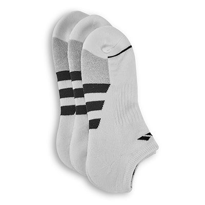 adidasMen's CUSHIONED II white low cut socks - 3pk