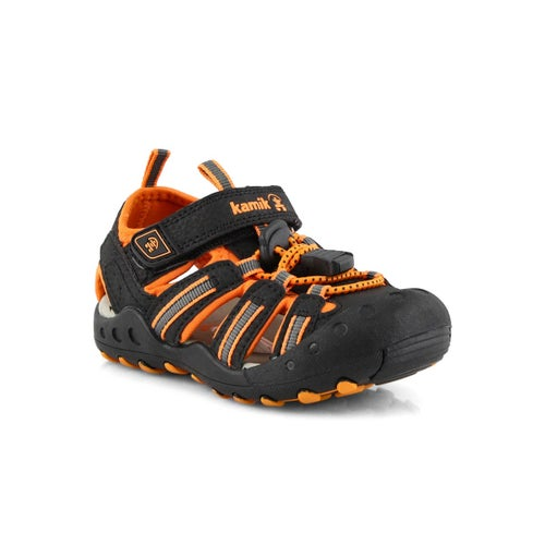 Inf-b Crab blk/orng closed toe sandal