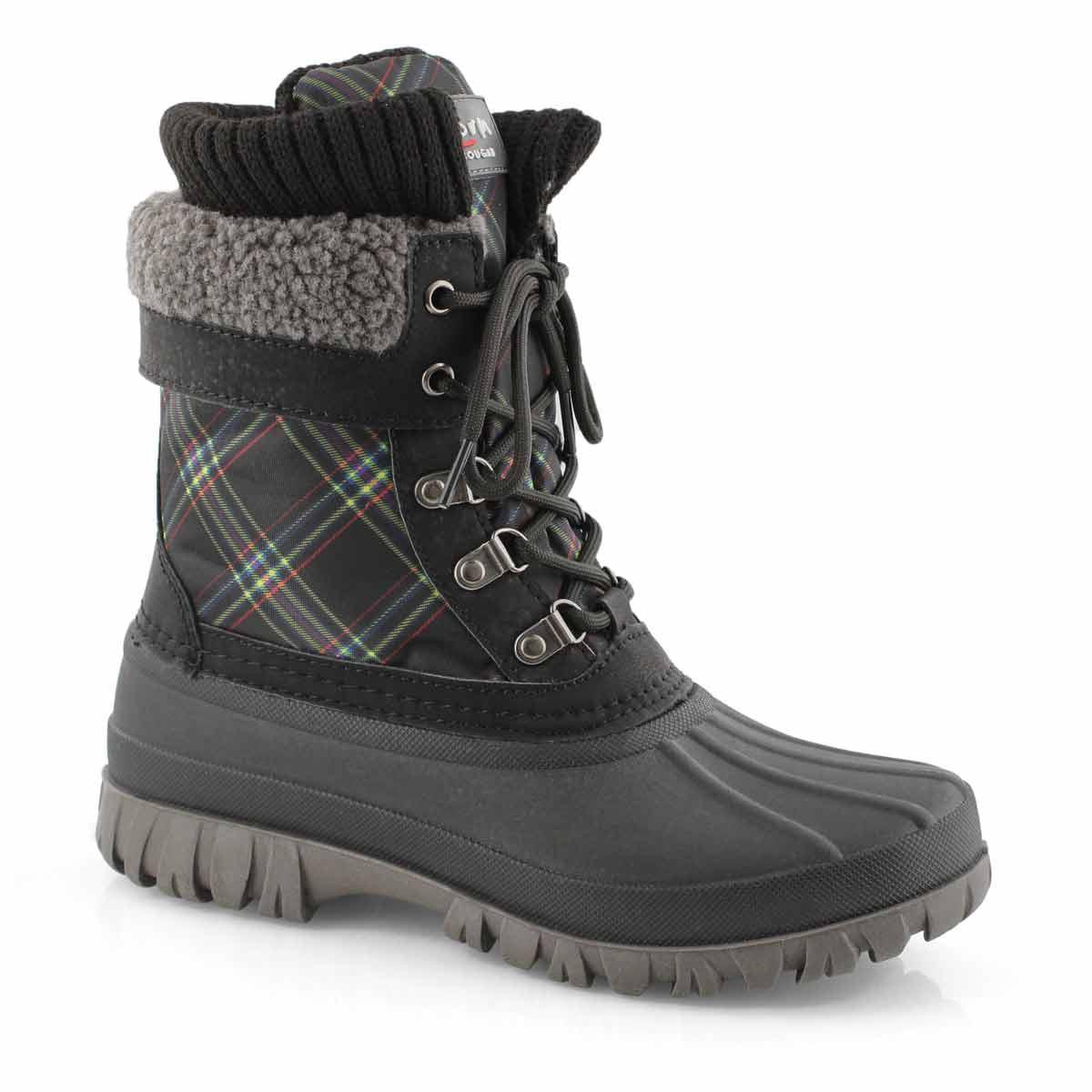 Women's CREEK blk bright plaid waterproof boots