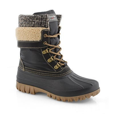 Women's CREEK blk tweed waterproof winter boots