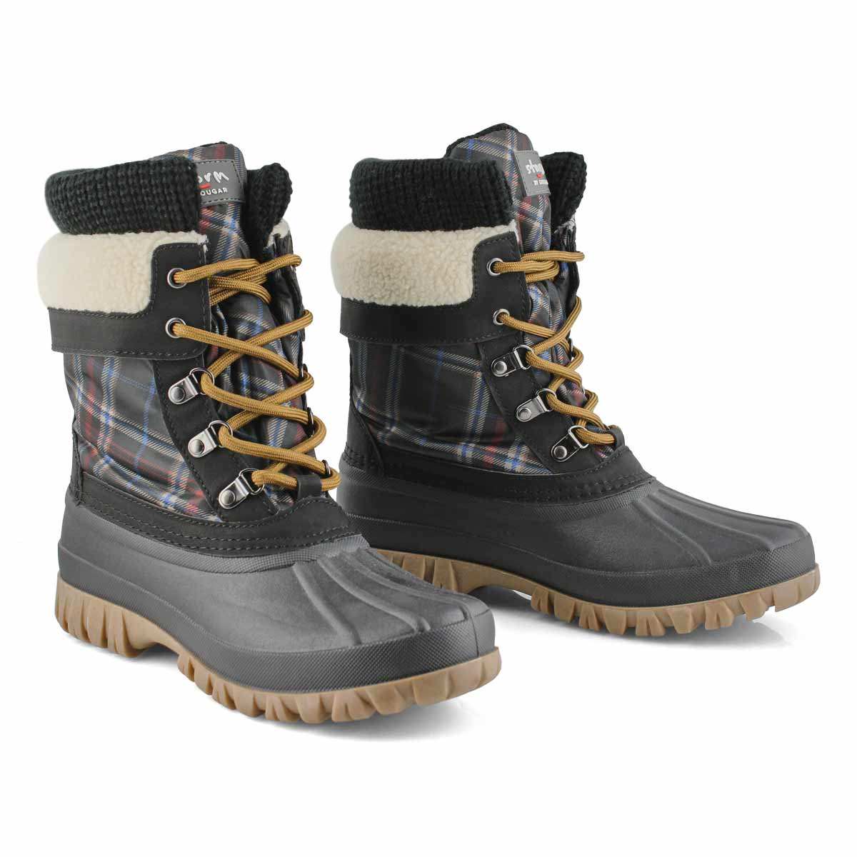 Women's CREEK black plaid waterproof winter boots