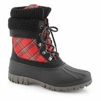 Women's CREEK red bright plaid waterproof boots