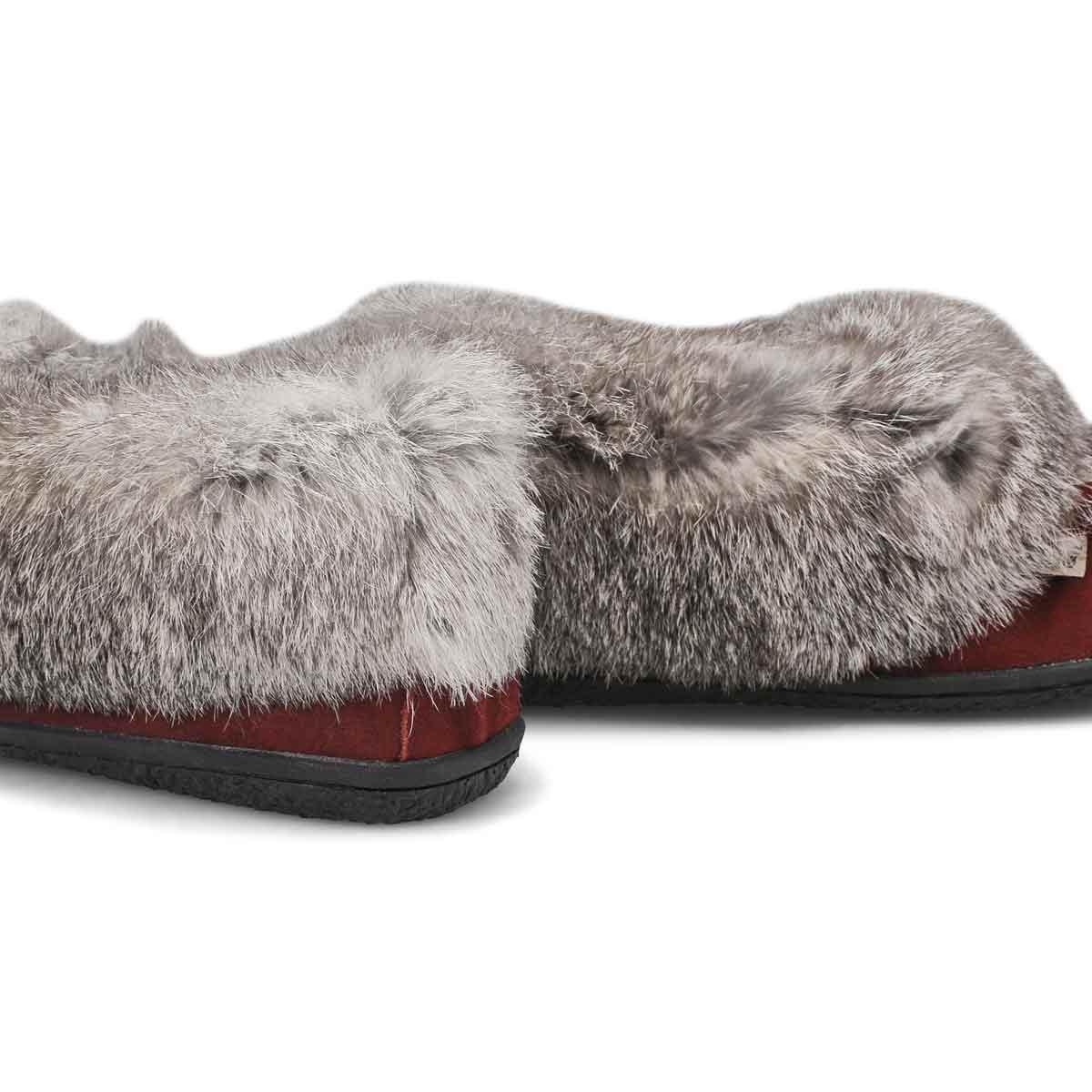 Women's Cute 5 Rabbit Fur Moccasin - Burgundy