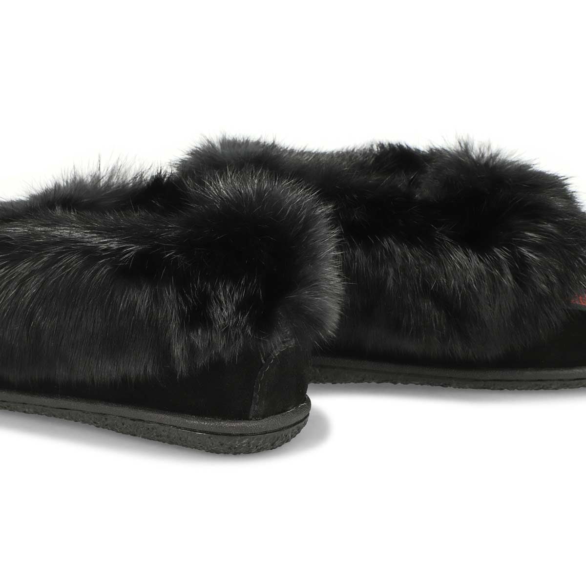 Women's Cute 5 Rabbit Fur Moccasin - Black Black