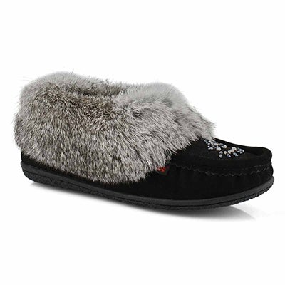Women's CUTE 5 black/grey rabbit fur moccasins