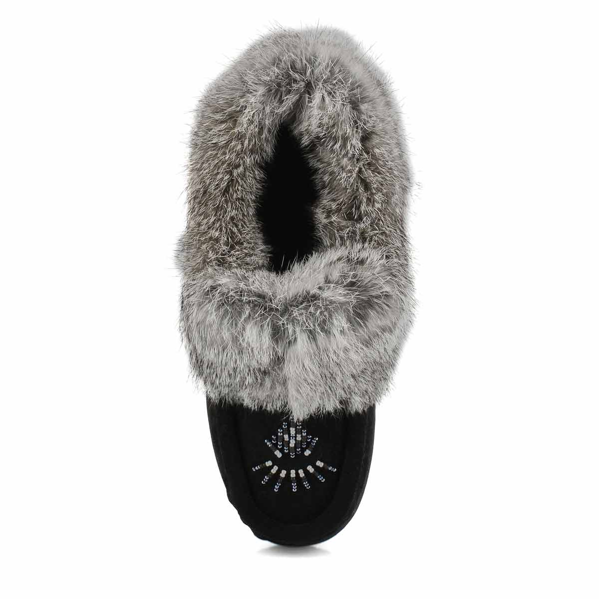 Women's Cute 5 Rabbit Fur Moccasin - Black Grey