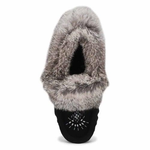 Lds Cute 5 blk/gry rabbit fur moccasin