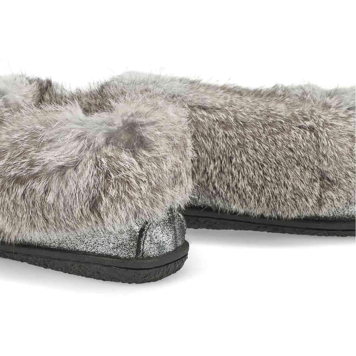 Women's Cute 5 Rabbit Fur Moccasin