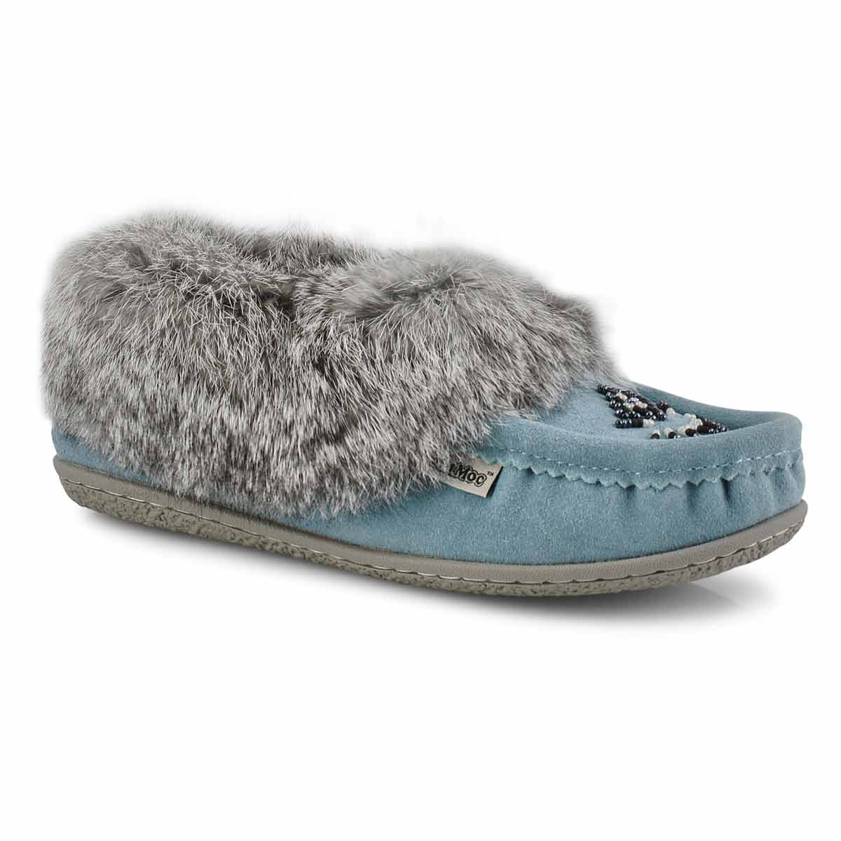 Women's Cute 5 Rabbit Fur Moccasin - Blue