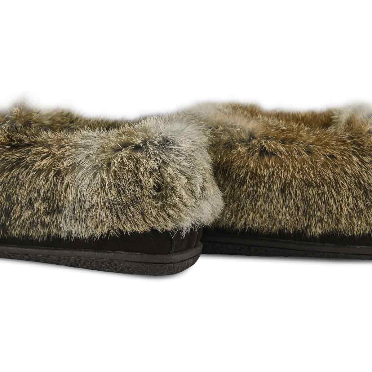 Women's Cute 5 Rabbit Fur Moccasin - Brown