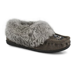 Lds Cute 5 grey rabbit fur moccasin