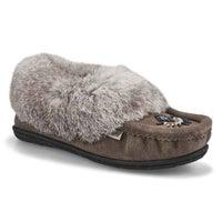 Women's Cute 5 Rabbit Fur Moccasin - Grey