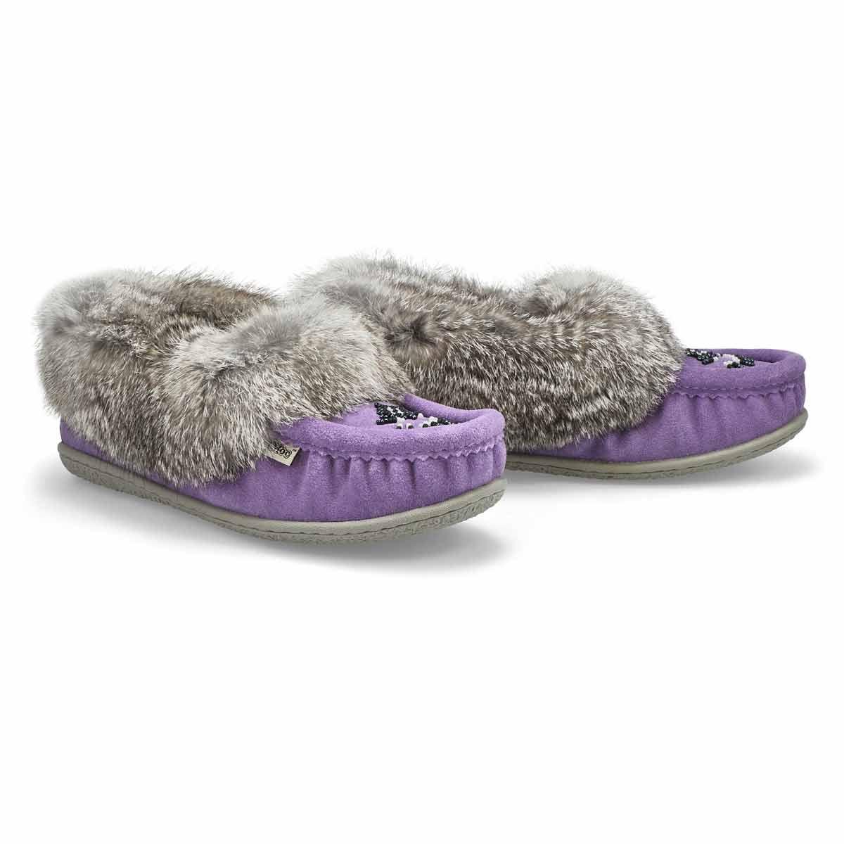 Women's Cute 5 Rabbit Fur Moccasin - Lavender