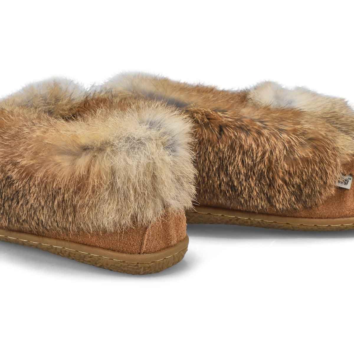 Women's Cute 5 Rabbit Fur Moccasin - Mocha