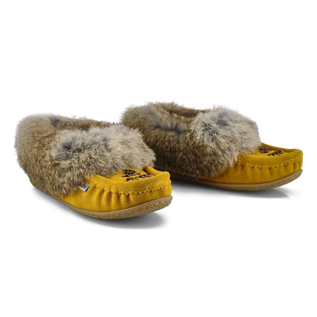 Women's Cute 5 Rabbit Fur Moccasin - Mustard