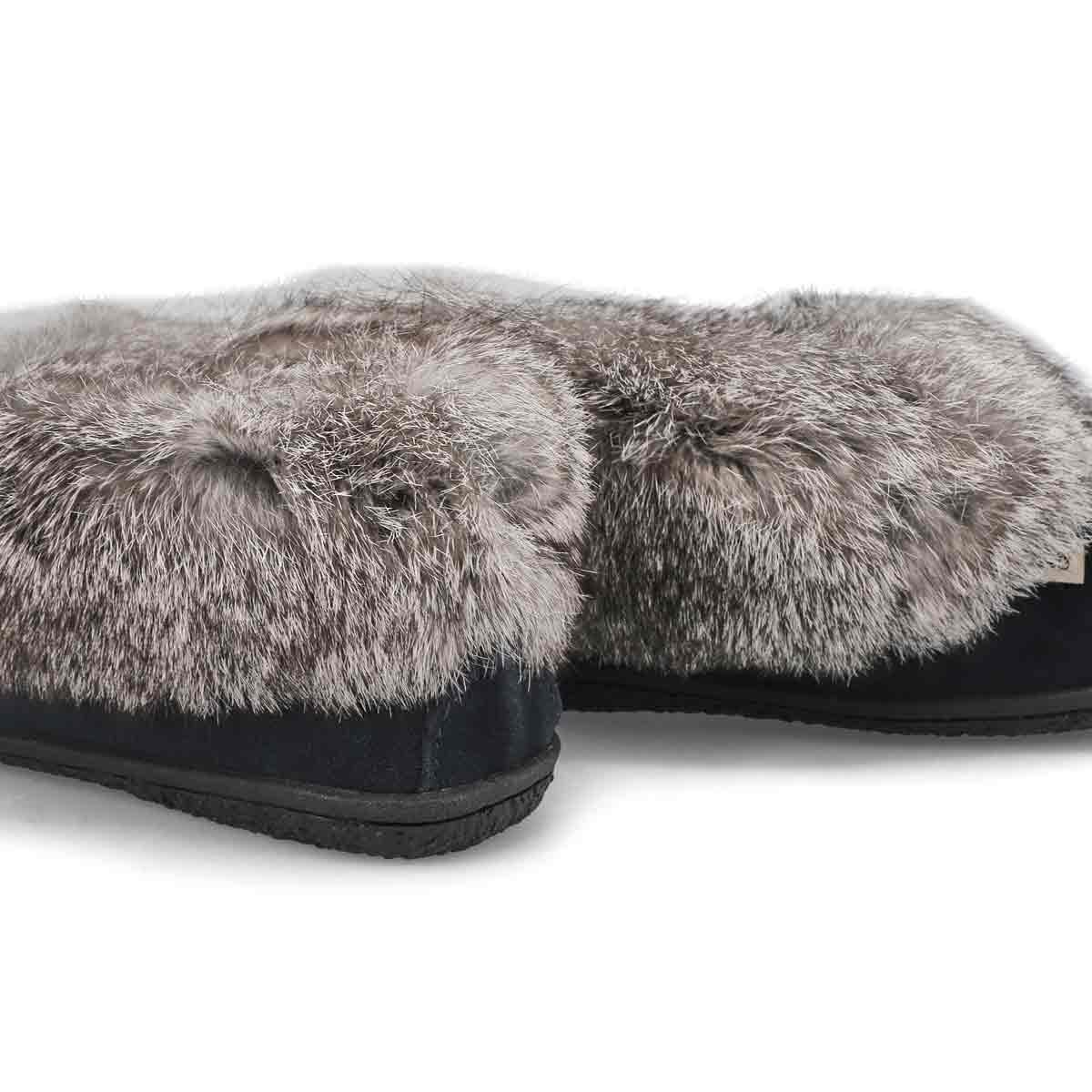 Women's Cute 5 Rabbit Fur Moccasin - Navy