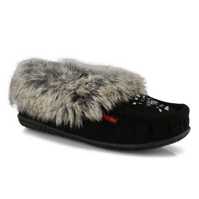 Women's CUTE 5 V black faux rabbit fur moccasins