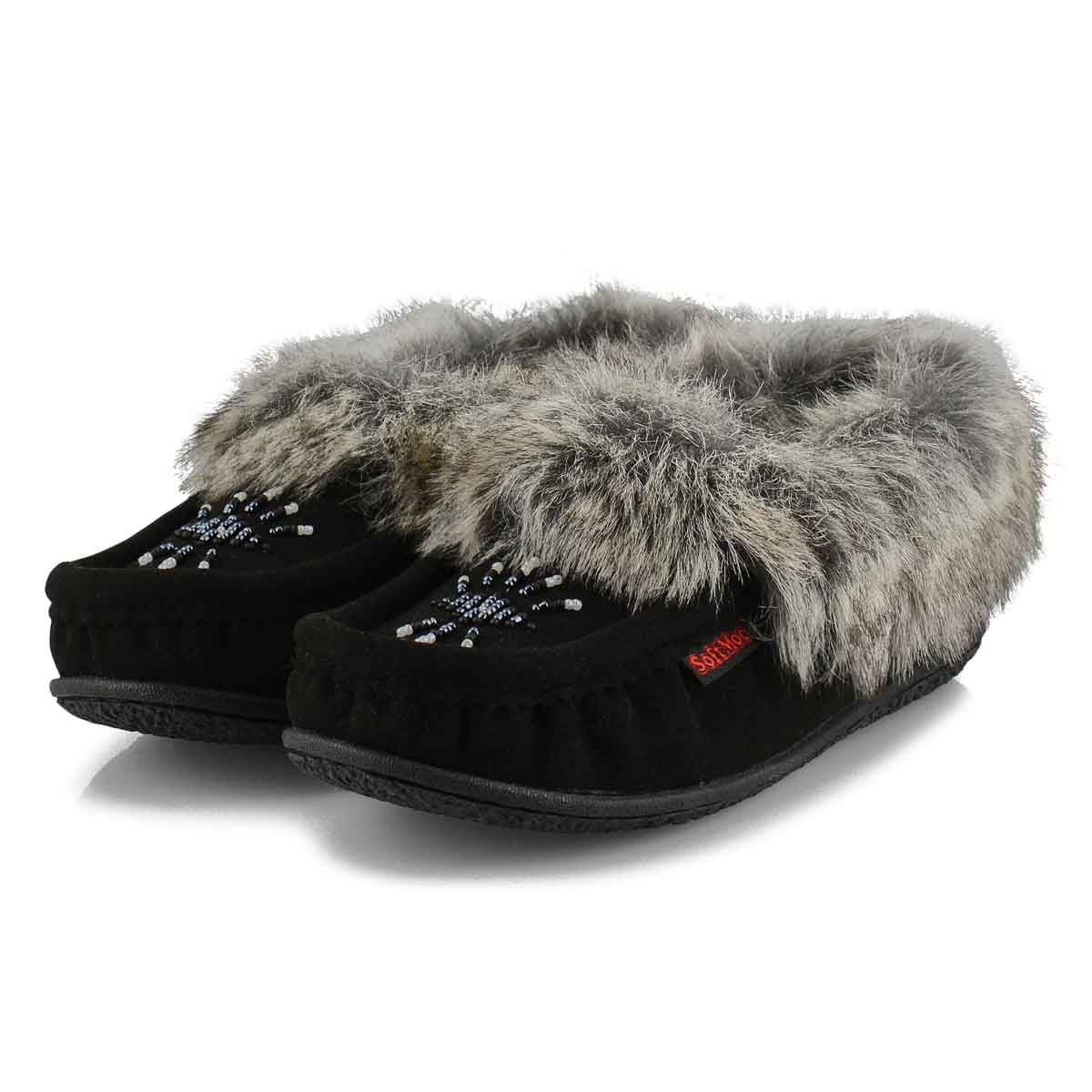 Women's Cute 5 V Faux Rabbit Fur Moccasin - Black
