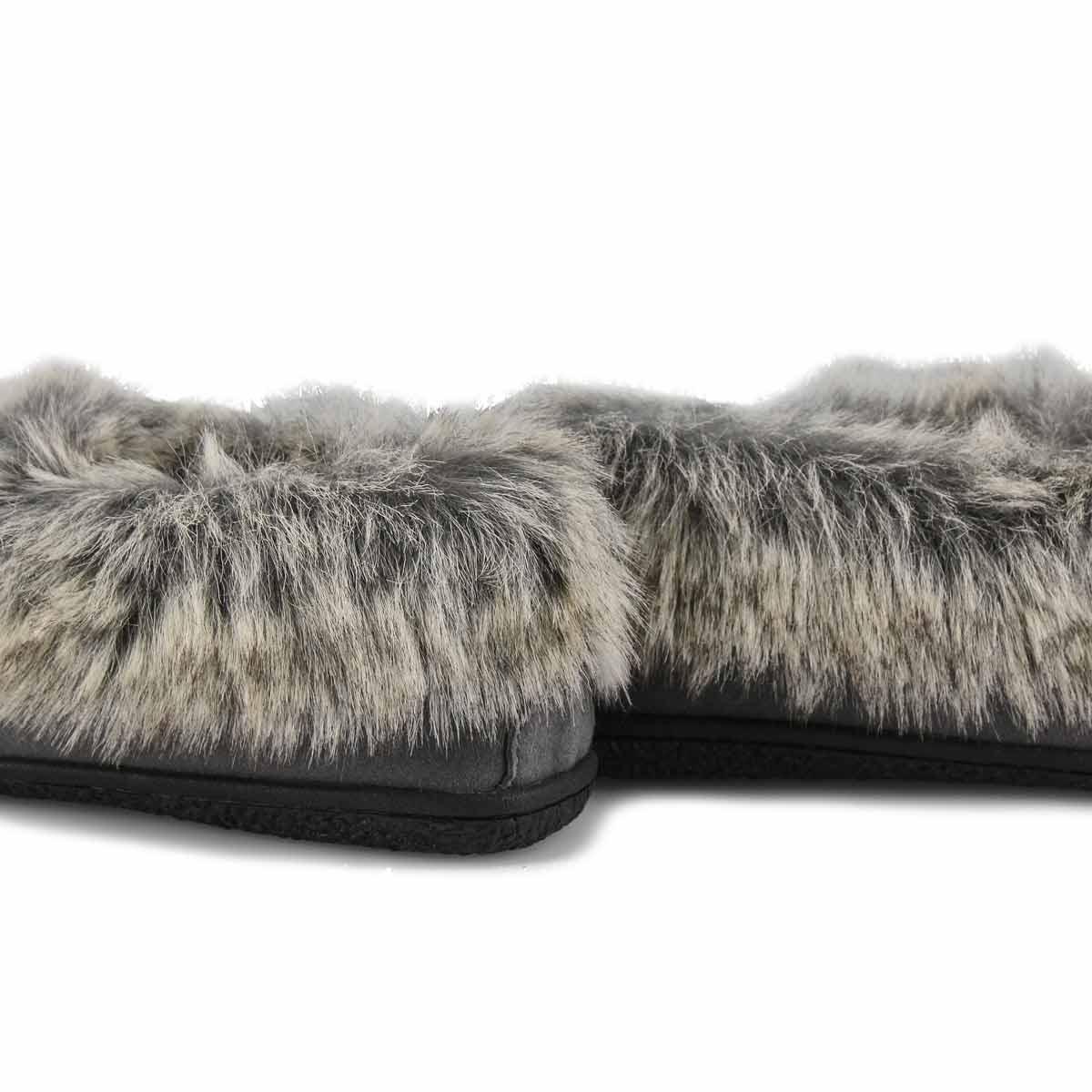 Women's Cute 5 V Faux Rabbit Fur Moccasin - Grey