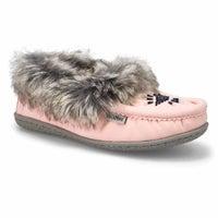 Women's Cute 5 V Faux Rabbit Fur Moccasin - Pink