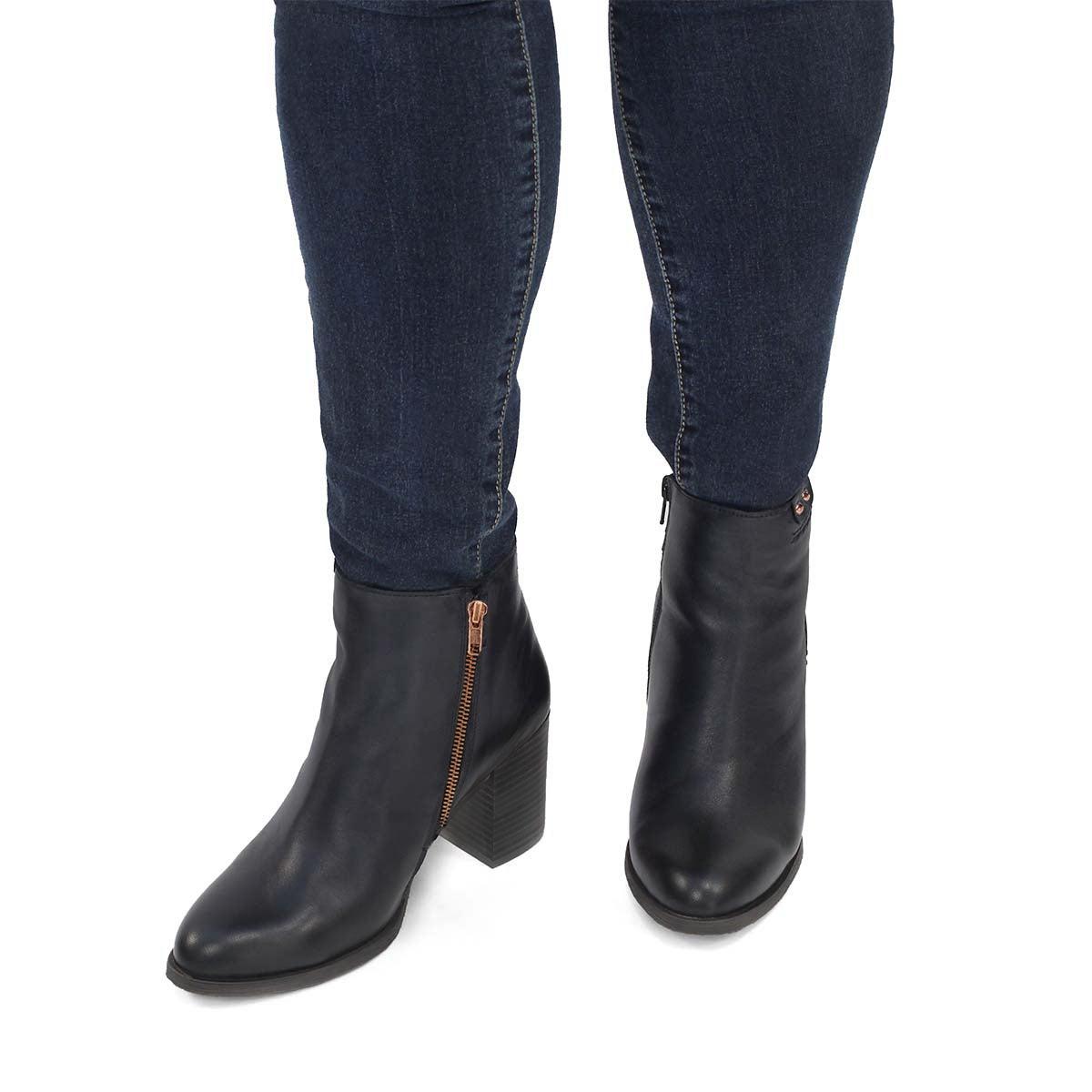 Women's DACIA blk/gld side zip ankle booties