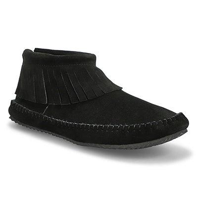 Lds DebraLo II black suede back zip moc