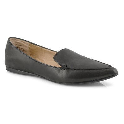 Women's FEATHER black leather casual flats