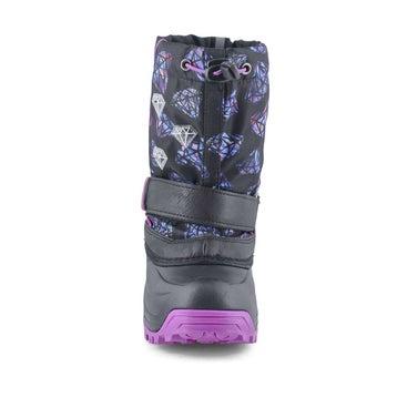 Girls' FROSTY 2 blk/ fuchsia light up winter boots