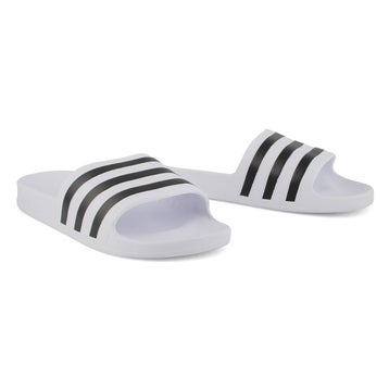 Women's ADILETTE AQUA white/black slide sandals