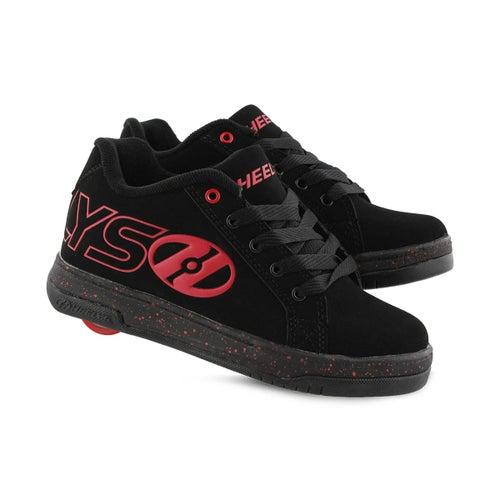 Bys Split blk/rd lace up skate sneaker