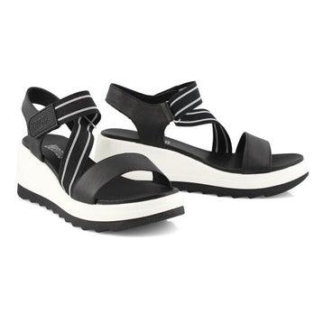 Women's HIBISCUS black wedge sandals