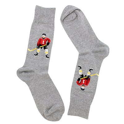 Hot Sox Men's HOCKEY PLAYER grey printed socks