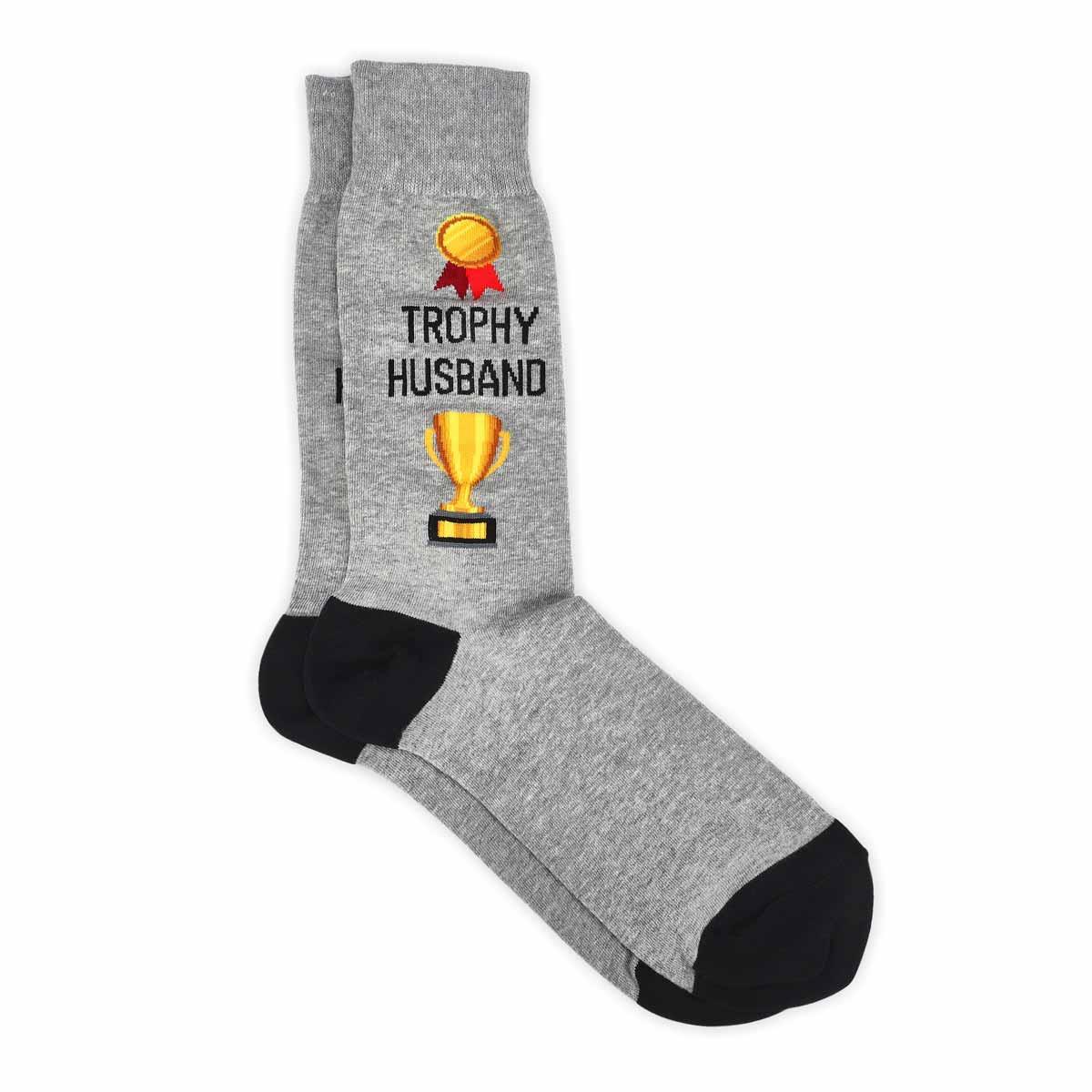 Mns Trophy Husband grey printed sock