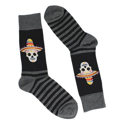 Hot Sox Men's SOMBRERO SUGAR SKULL black printed socks