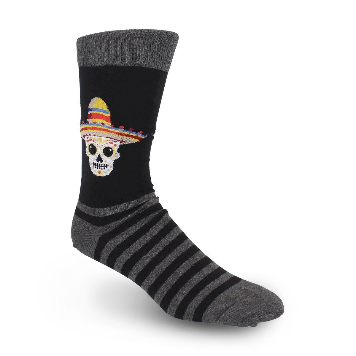 Men's Sombrero Sugar Skull Sock -Black Printed