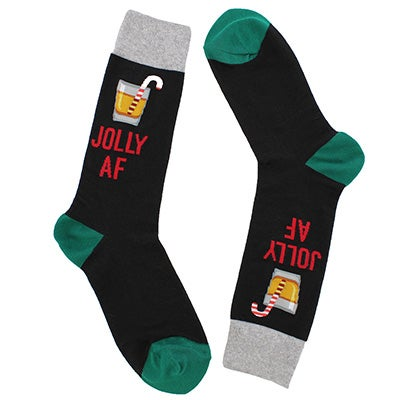 Hot Sox Men's JOLLY AF black printed socks