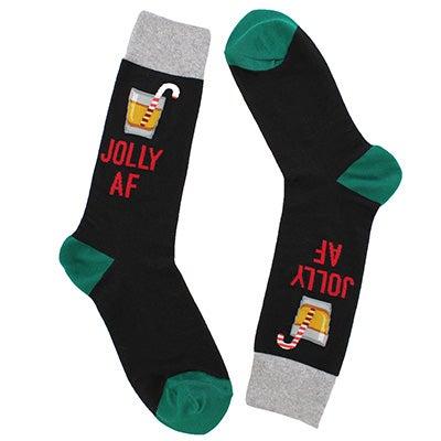Hot SoxMen's JOLLY AF black printed socks
