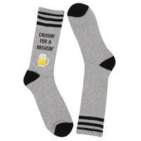 Men's Cruisin For a Brewsin Sock - Grey Printed