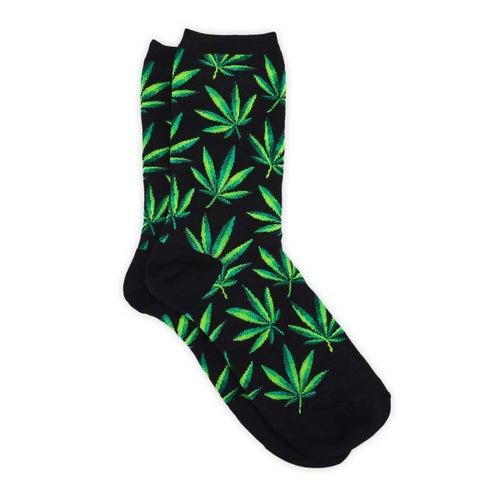 Chaussette motif Marijuana, nr, fem.
