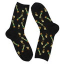 Hot Sox Women's CHAMPAGNE bottles black socks