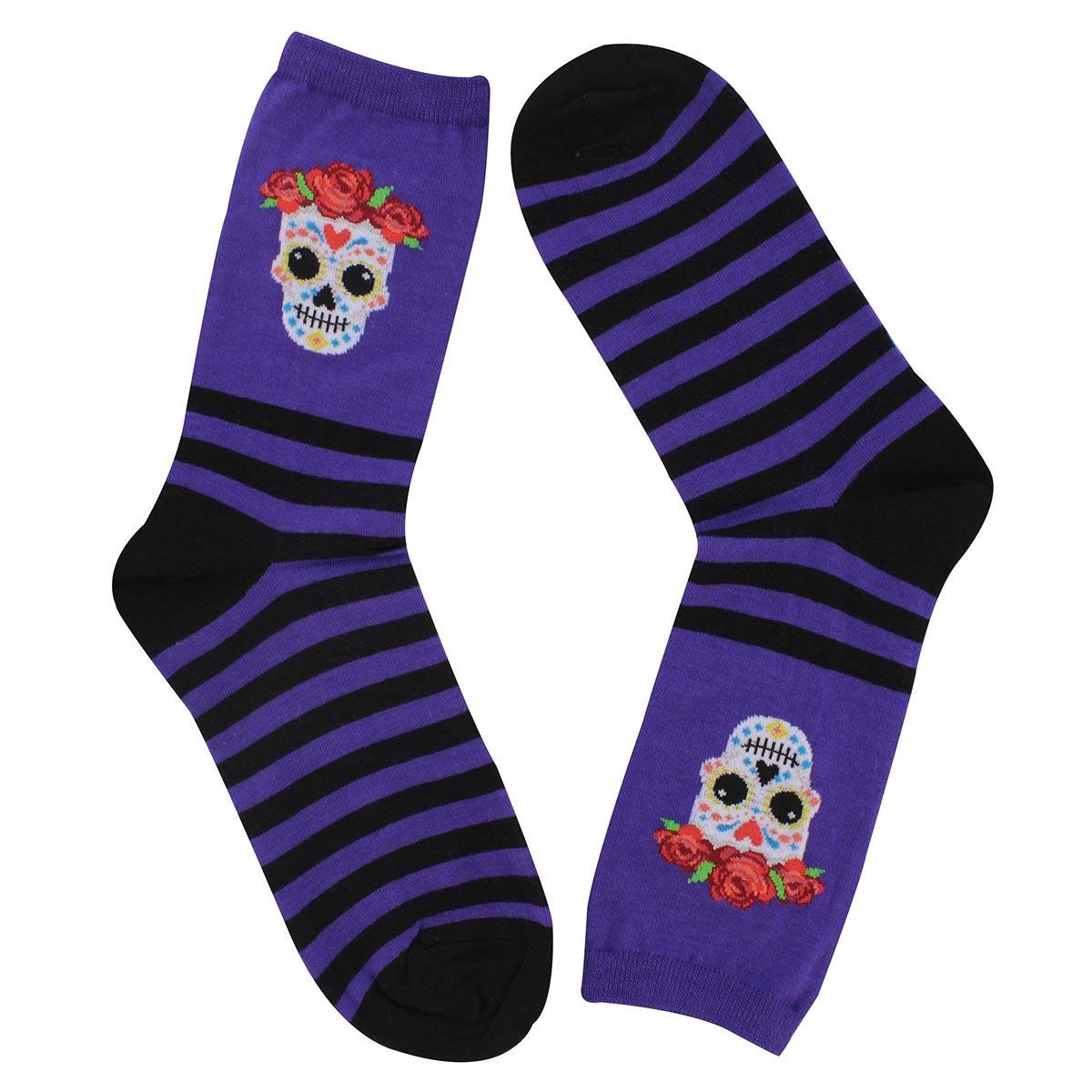 Women's Sugar Skull Sock - Purple Printed
