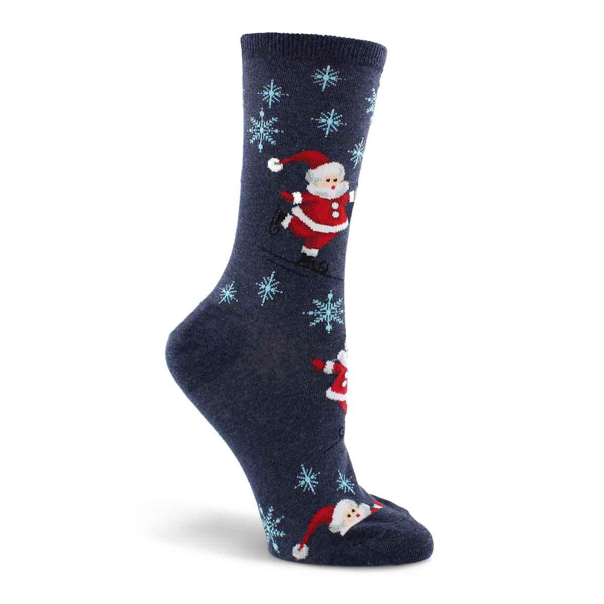 Women's Skating Santas Sock - Grey Printed
