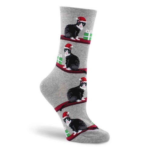 Lds Christmas Cats grey printed sock