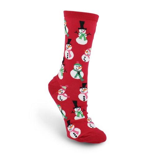 Chaussette Snowmen,imprimé,rouge,femme