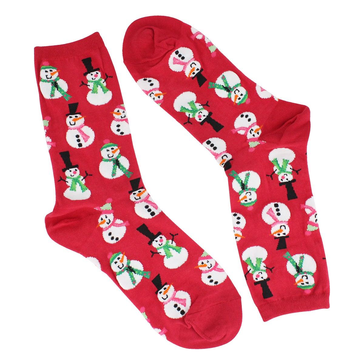 Women's Snowmen Sock - Red Printed