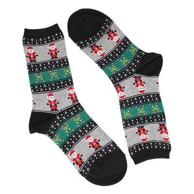 Hot Sox Women's SANTA FAIRISLE black printed socks