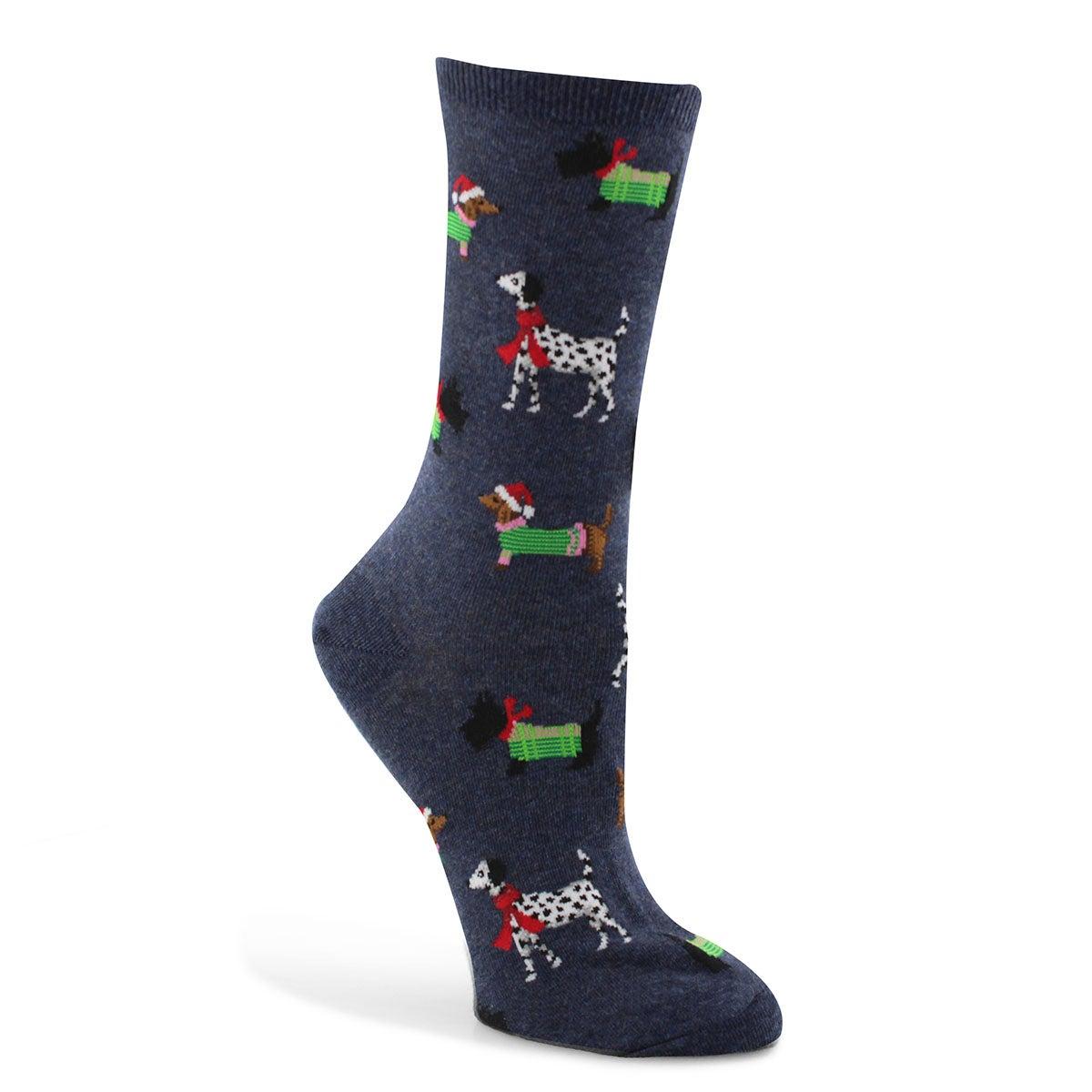 Women's Christmas Dogs Sock - Denim