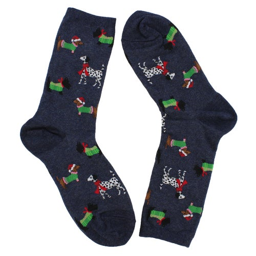 Lds Christmas Dogs denim printed sock