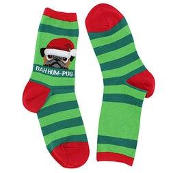 Lds Bah Humpug green printed sock