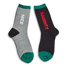 Lds Naughty and Nice black printed sox